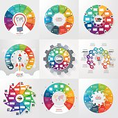 Set of 9 circle infographic templates with 10 options, steps