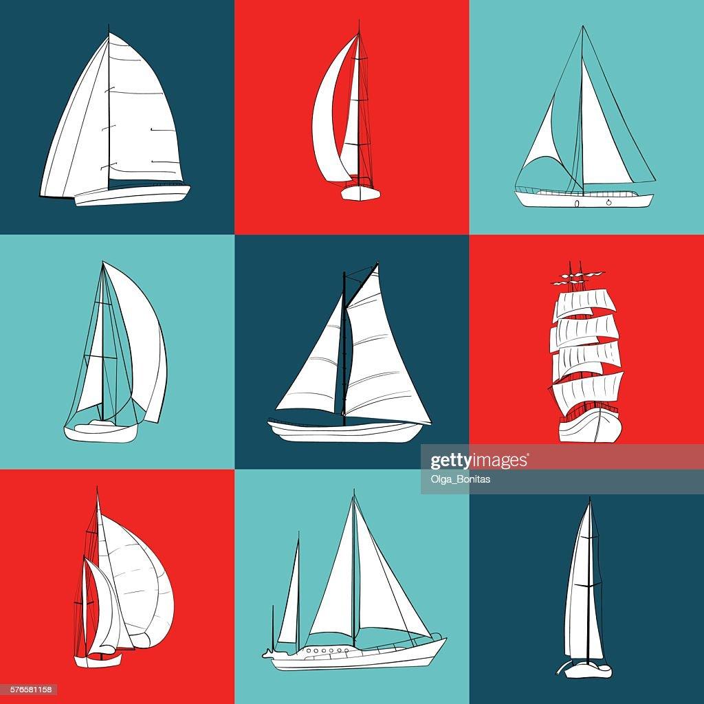Set of 9 contour sailboats