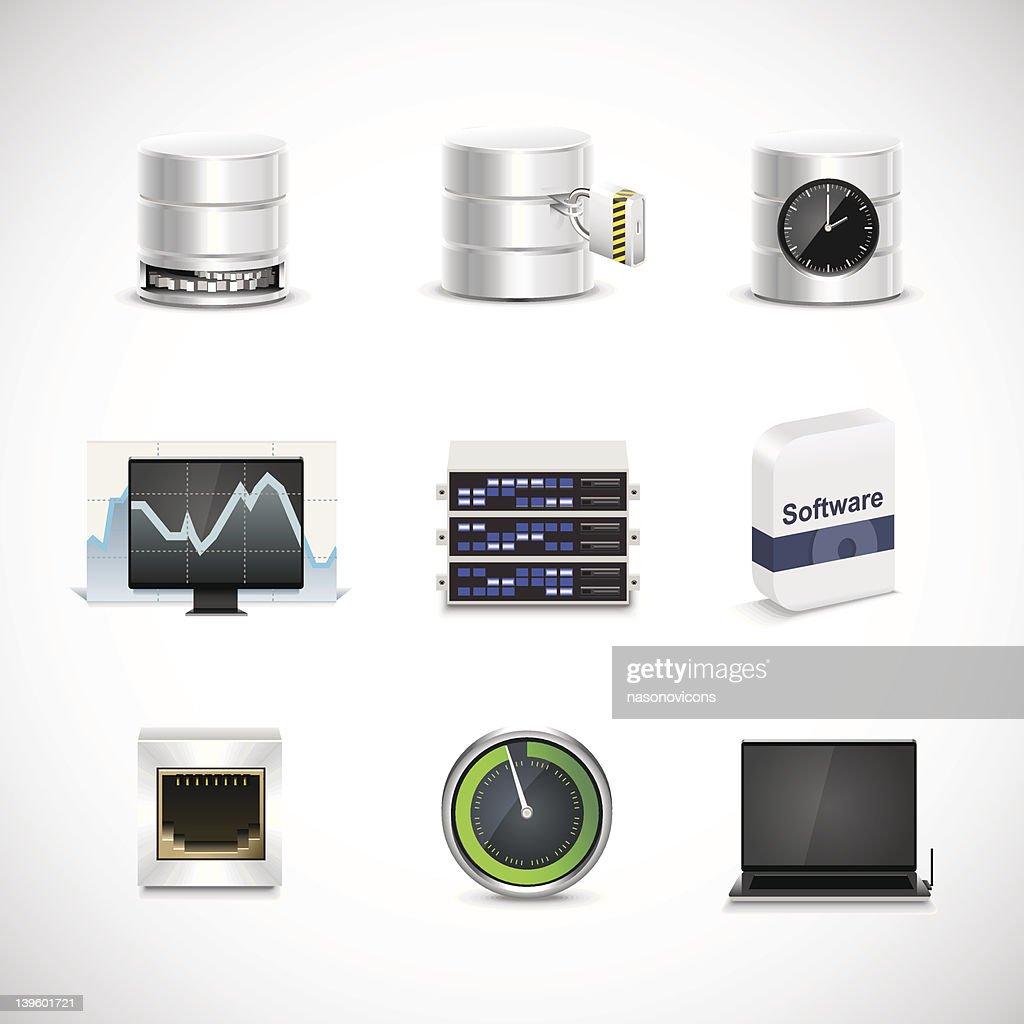 Set of 9 data hosting & server icons on white