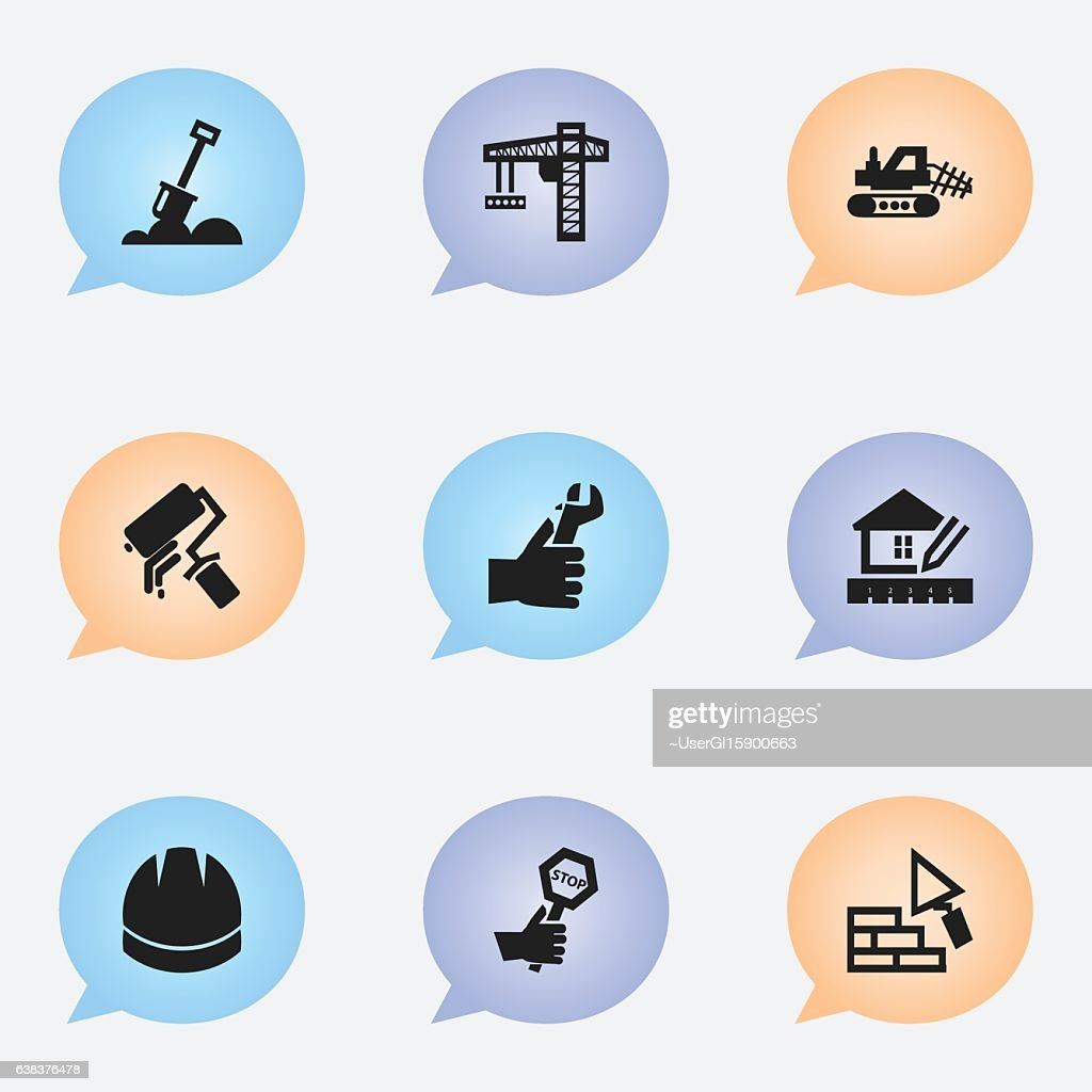 Set Of 9 Editable Construction Icons.