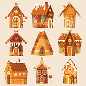 Set of 9 festive gingerbread houses. Christmas tradition.