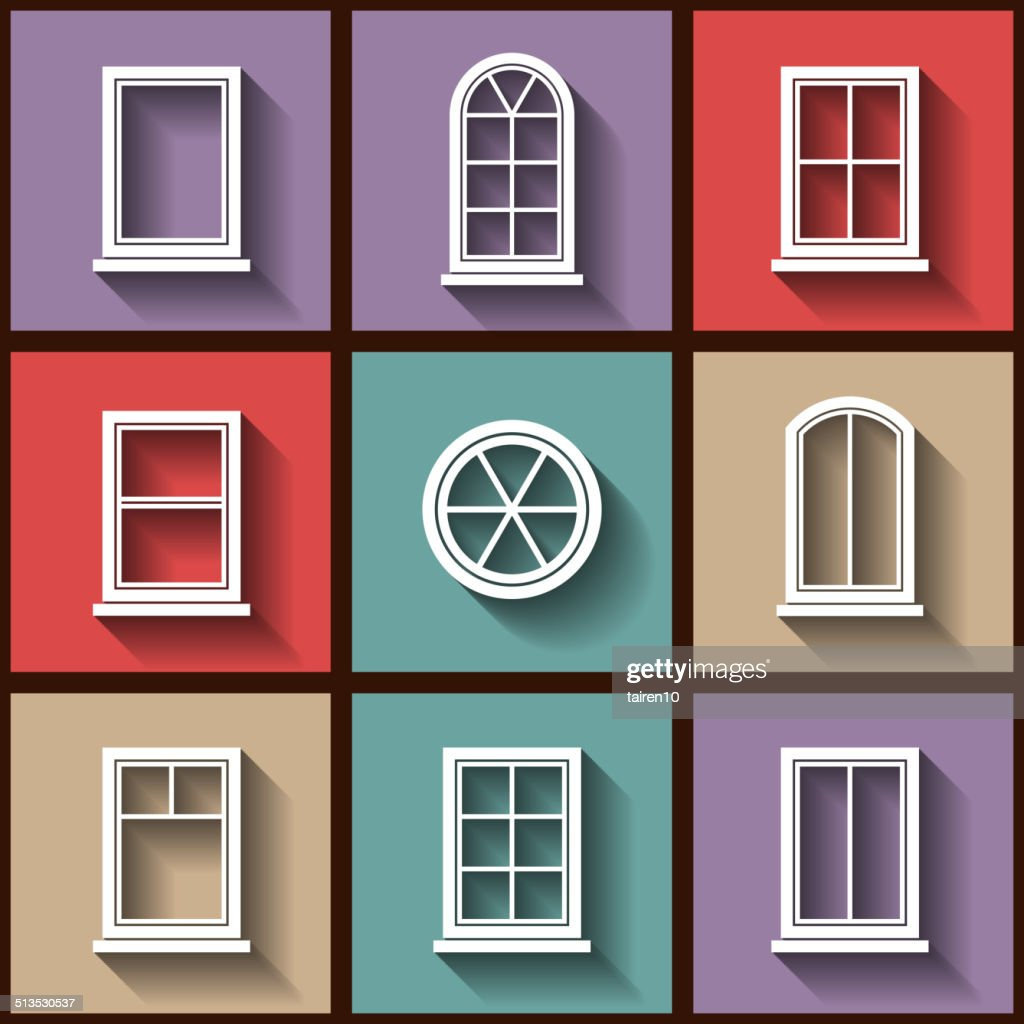 Set of 9 flat icons of different types of windows
