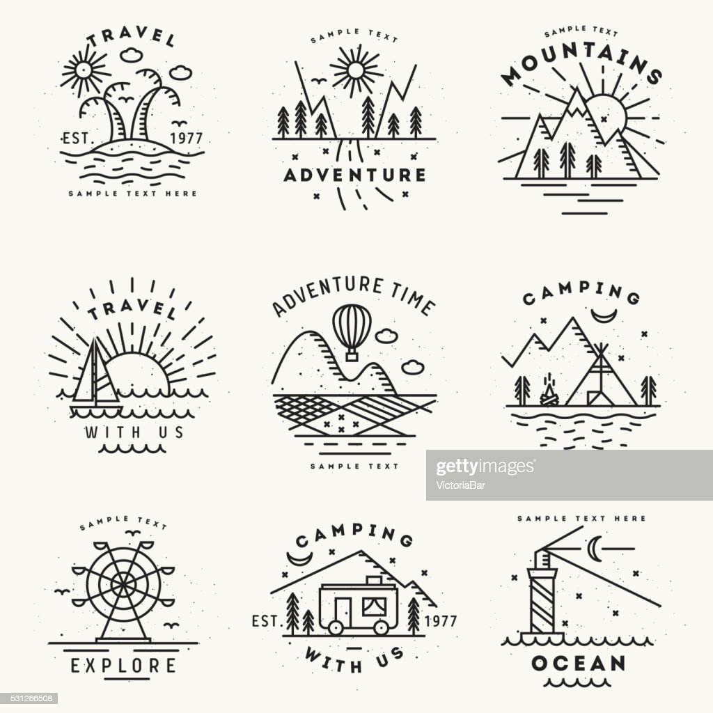 Set of 9 flat line art travel logotypes