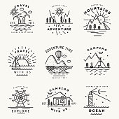 Set of 9 flat line art travel logotypes