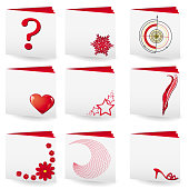 Set of  9 folders with white covers and red pages