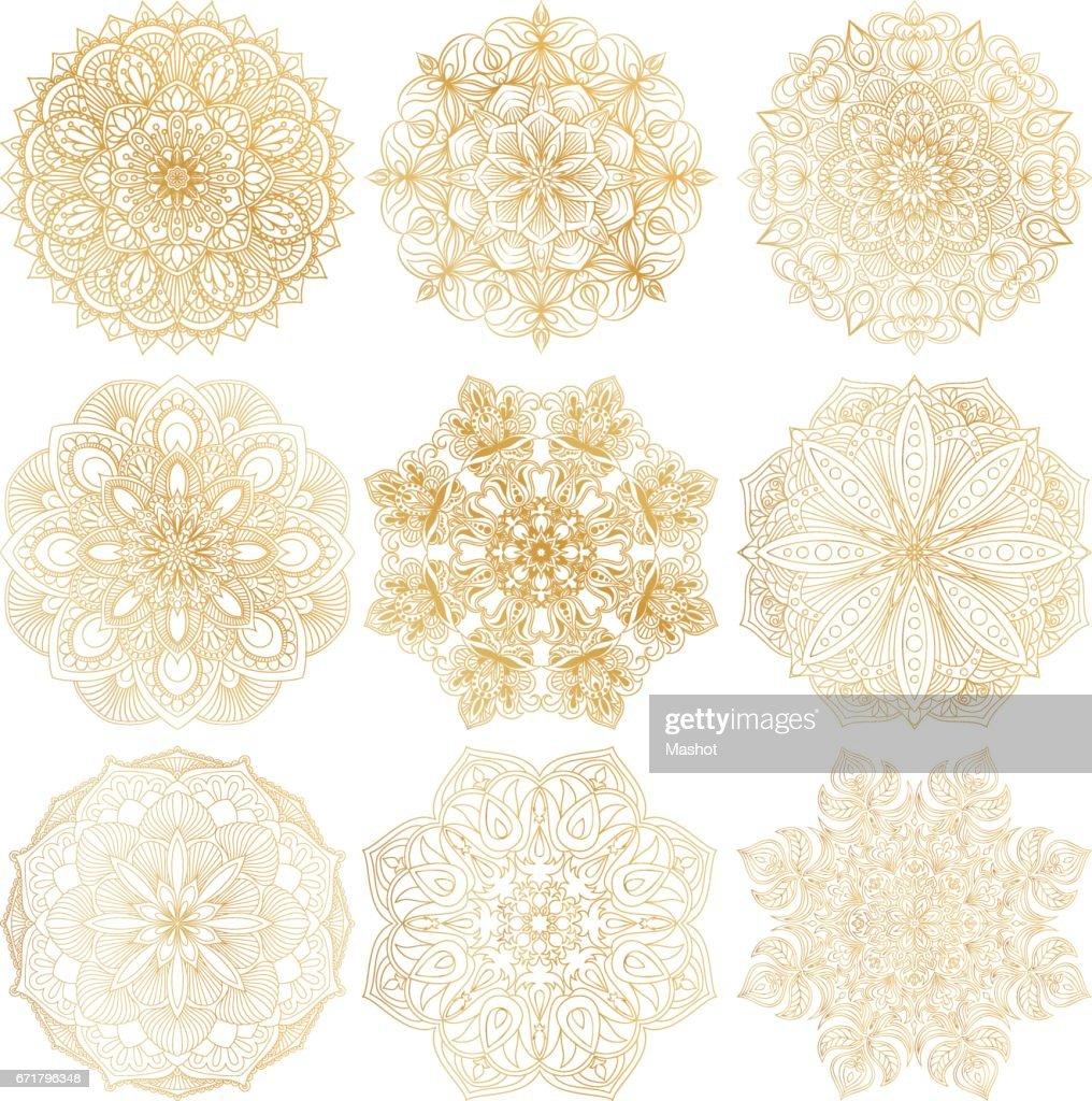 Set of 9 hand-drawn vector Arabic mandala on white background. Ethnic decorative ornament. Gold contour mandala symbols for coloring page.