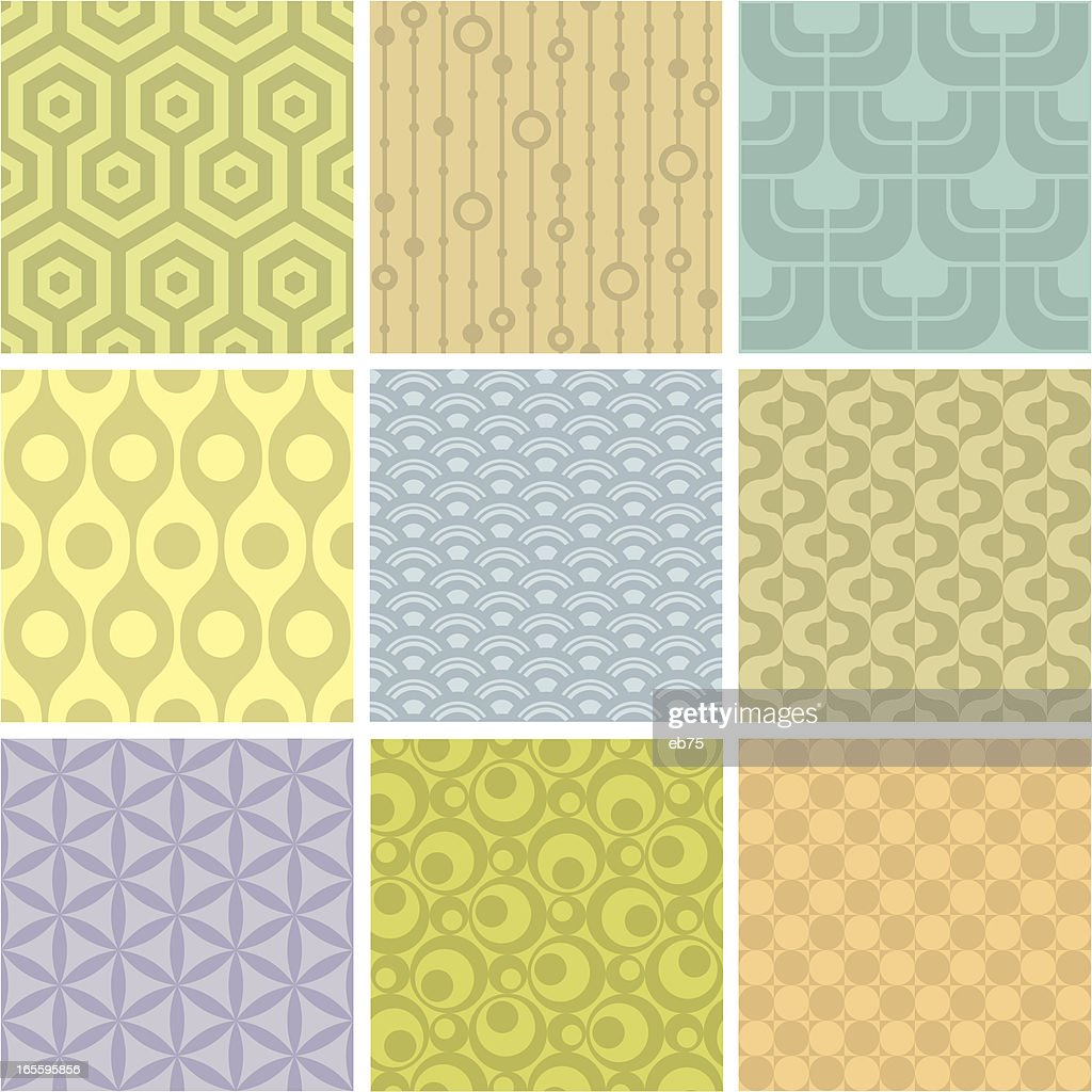 Set of 9 pastel shaded geometric pattern squares