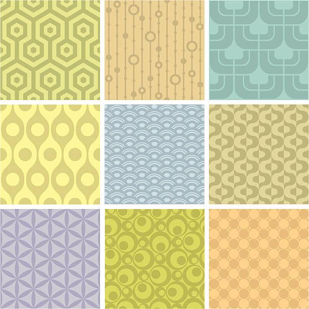 set of 9 pastel shaded geometric pattern squares - femininity stock illustrations