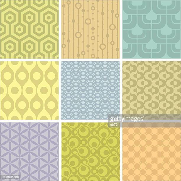 set of 9 pastel shaded geometric pattern squares - girly wallpapers stock illustrations