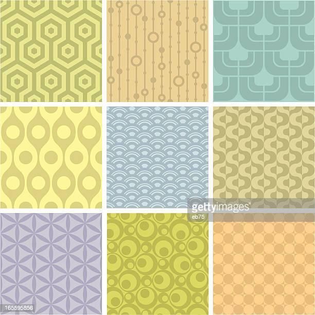 bildbanksillustrationer, clip art samt tecknat material och ikoner med set of 9 pastel shaded geometric pattern squares - funky