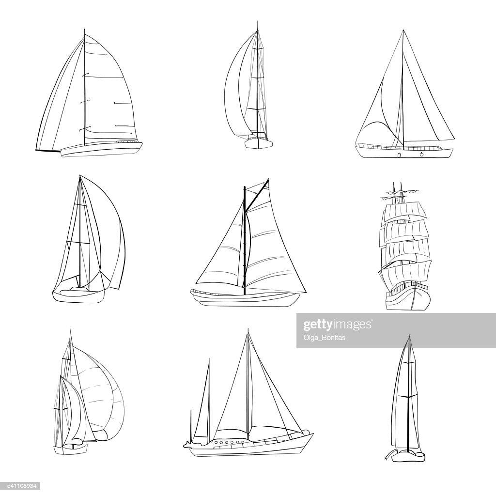 Set of 9 sailboats isolated on white.