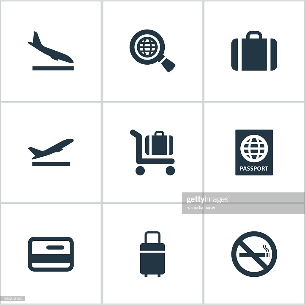 Set Of 9 Simple Airport Icons.