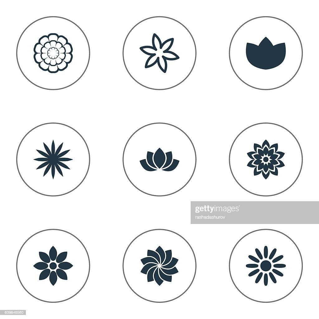 Set Of 9 Simple Blossom Icons.