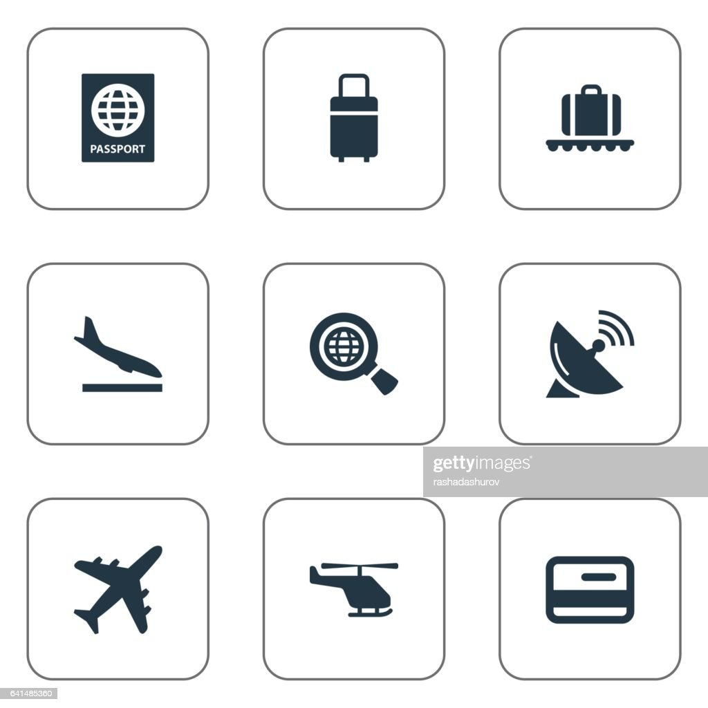 Set Of 9 Simple Plane Icons. ther.