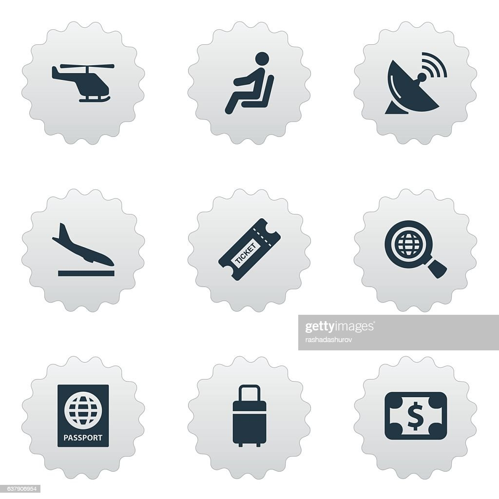 Set Of 9 Simple Plane Icons.