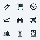 Set Of 9 Simple Transportation Icons.