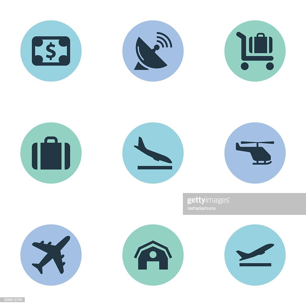 Set Of 9 Simple Travel Icons.