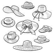 Set of 9 sketches of fashion women's straw hats