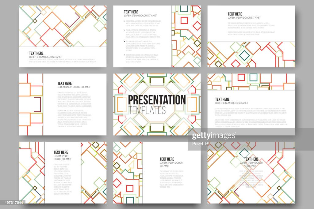 Set of 9 templates for presentation slides. Abstract colored vector