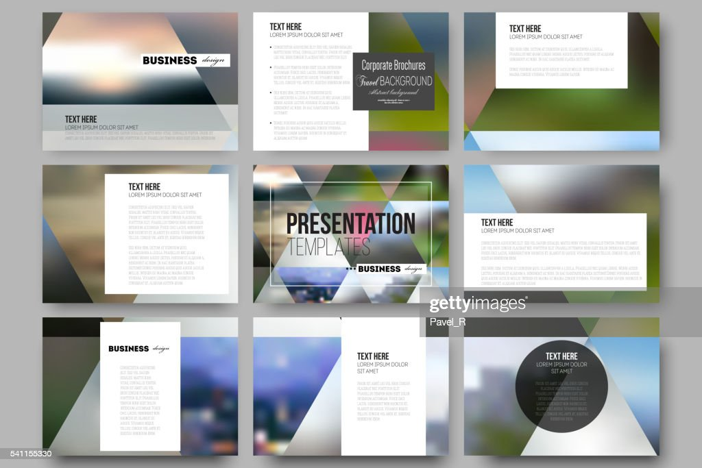 Set of 9 templates for presentation slides. Abstract multicolored background