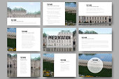 Set of 9 templates for presentation slides. Park landscape. Abstract