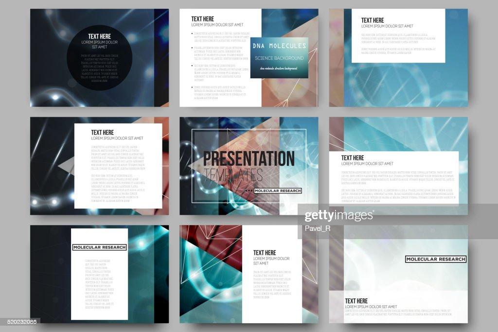 Set of 9 vector templates for presentation slides. DNA molecule