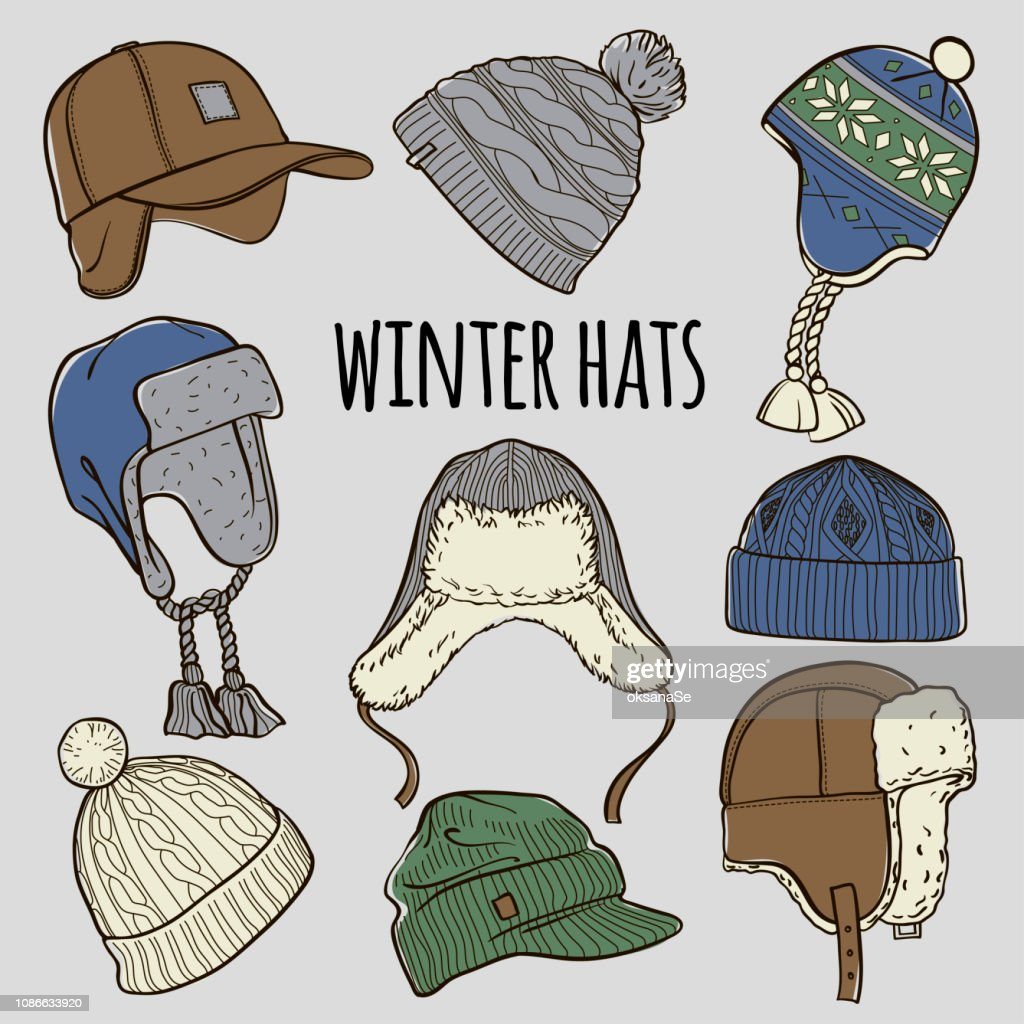 Set of 9 winter colored caps and hats sketches