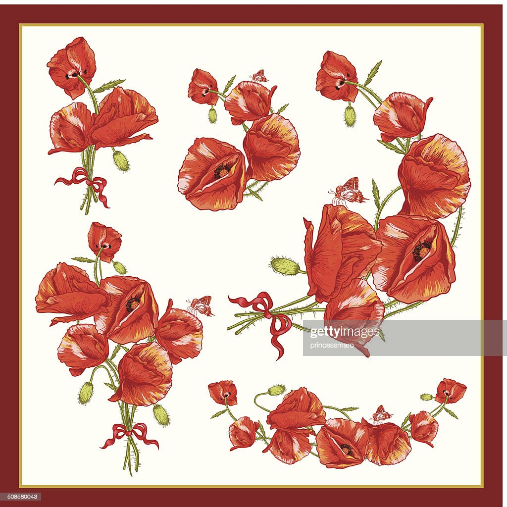 Set of a Beautiful Bouquet Red Poppy. : Vector Art
