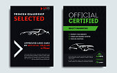 Set of A4, A5 car repair service business card templates. Car sale business catalogue or broschure cover layout design. Vector illustration.
