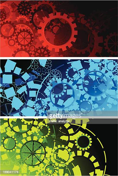 set of abstract banners - gearshift stock illustrations, clip art, cartoons, & icons