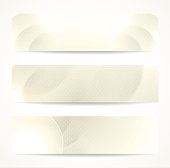 Set of abstract beige vector headers or banners.