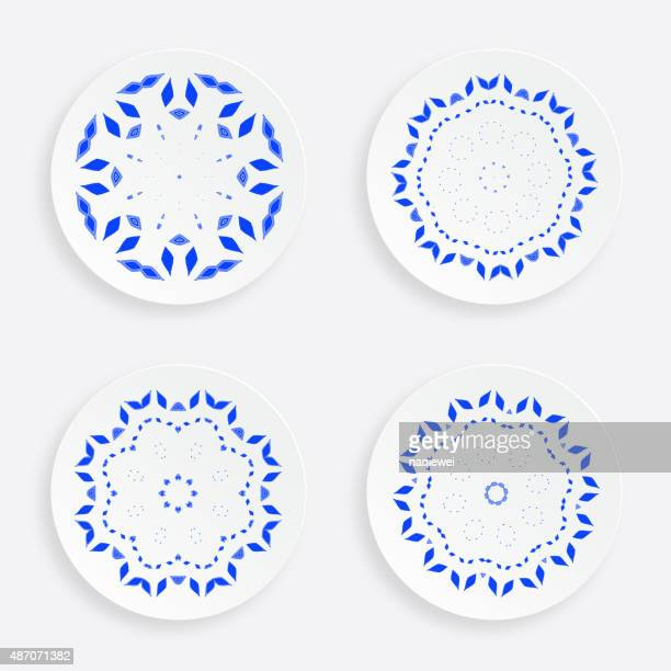 set of abstract blue floral plate pattern for design