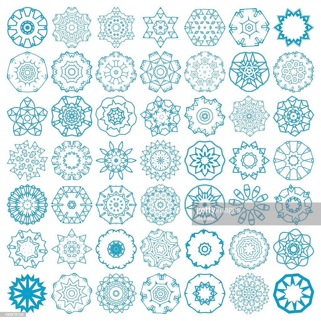 Set Of Abstract Blue Mandala Floral Pattern Icon Vector Art   Getty ...