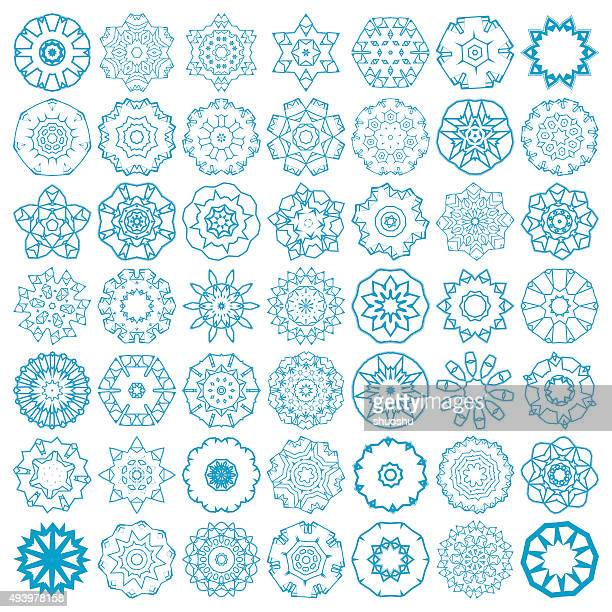 set of abstract blue mandala floral pattern icon