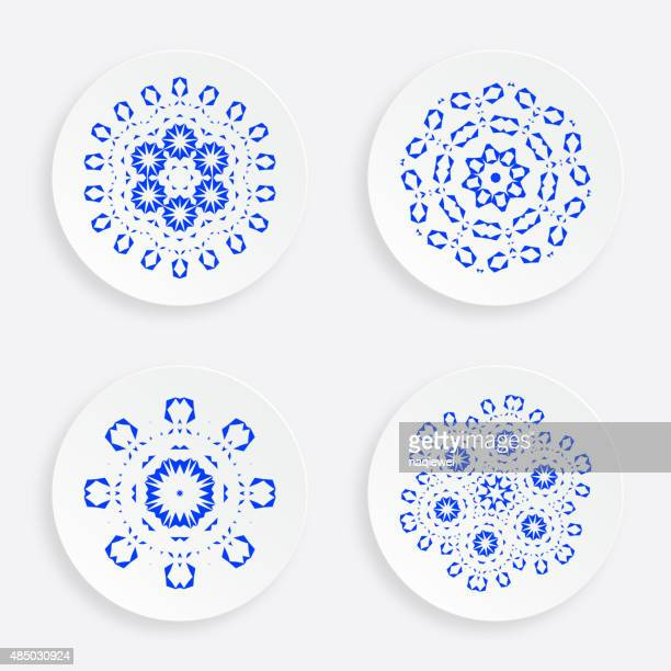 set of abstract blue plate pattern for design