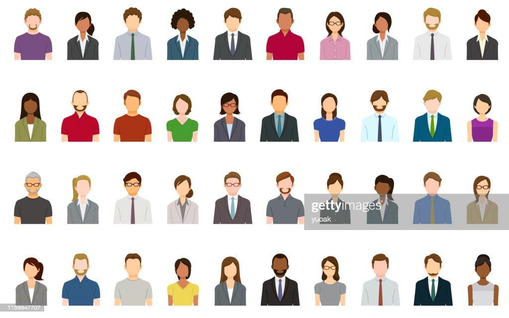 Set of abstract business people avatars : Stock Illustration