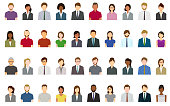 Set of abstract business people avatars