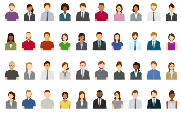 set of abstract business people avatars - human body part stock illustrations