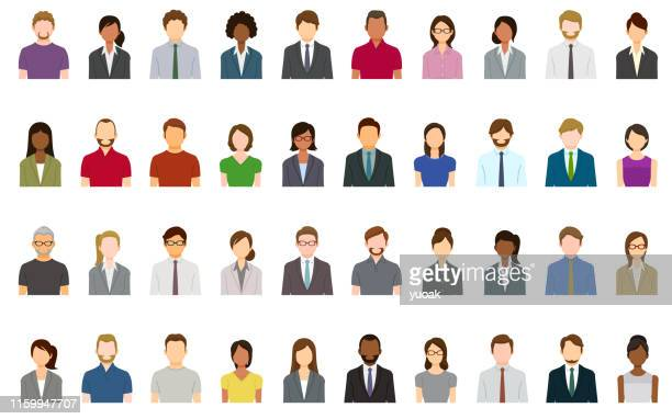 ilustrações de stock, clip art, desenhos animados e ícones de set of abstract business people avatars - bigode