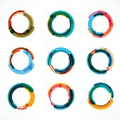 set of abstract color circle icon