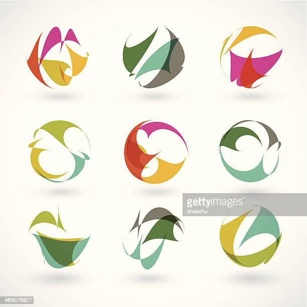 set of abstract color sign shape