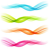 Set of Abstract color transparent curved lines
