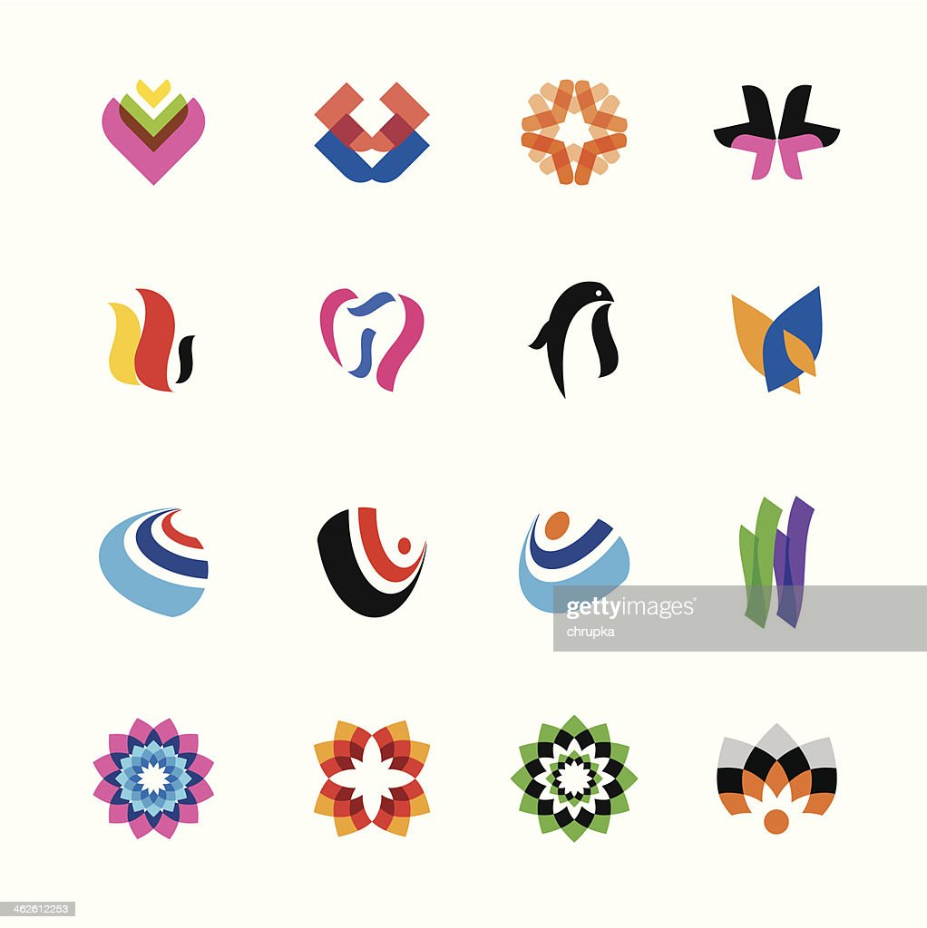 set of abstract colorful elements for graphic design