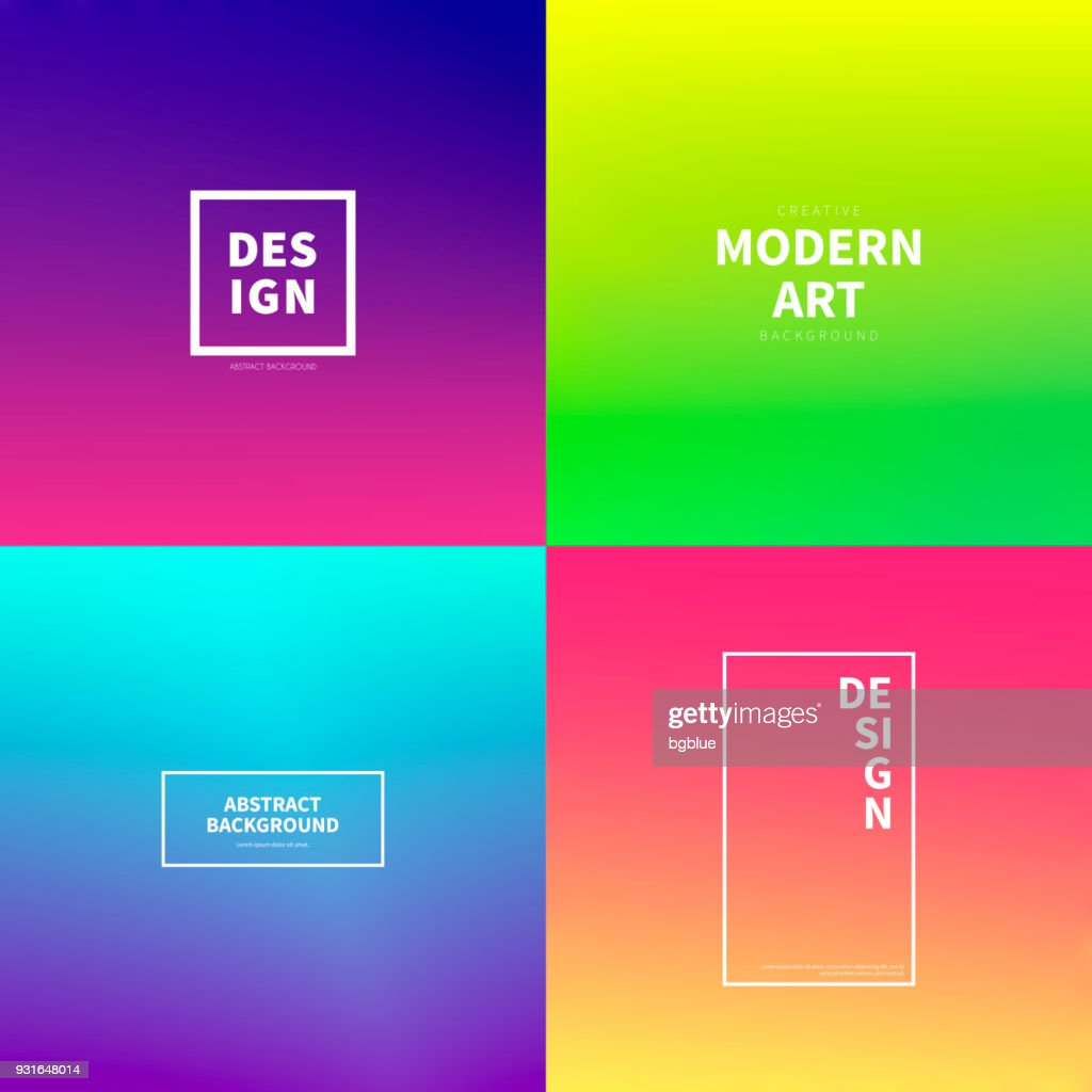 Set of abstract colorful gradient designs - Trendy background : stock illustration