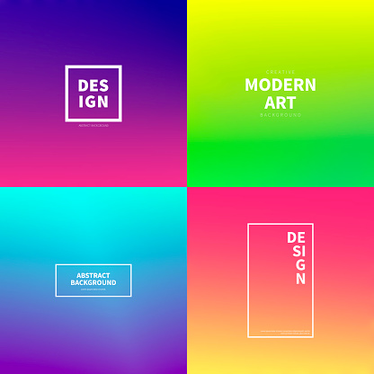 Set of abstract colorful gradient designs - Trendy background - gettyimageskorea