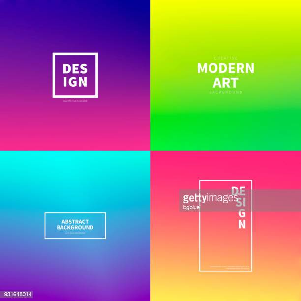 set of abstract colorful gradient designs - trendy background - bright stock illustrations