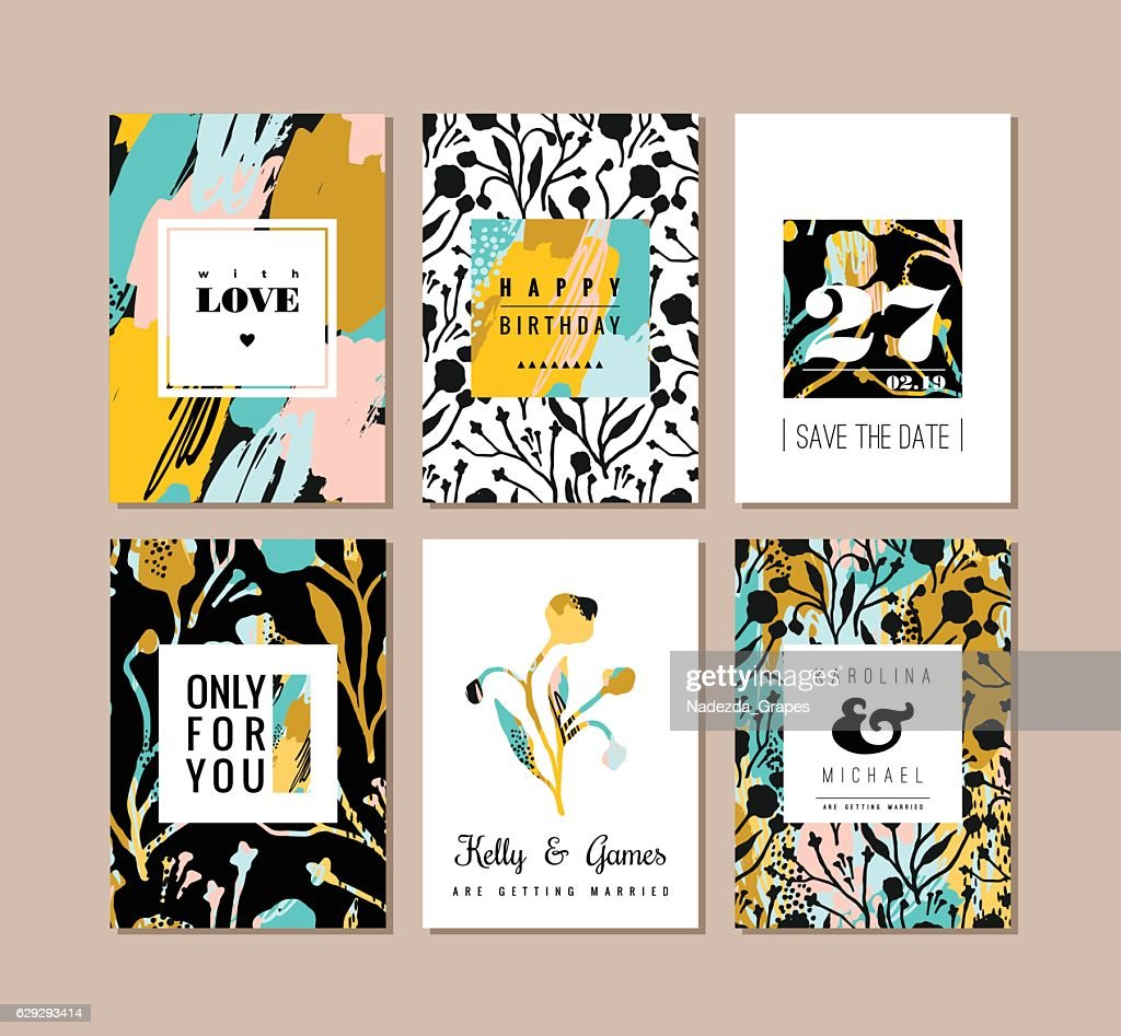 Set of abstract creative cards. Hand drawn art texture and