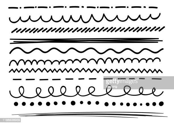 satz von abstrakten gekrümmten kritzeleien. - einzellinie stock-grafiken, -clipart, -cartoons und -symbole