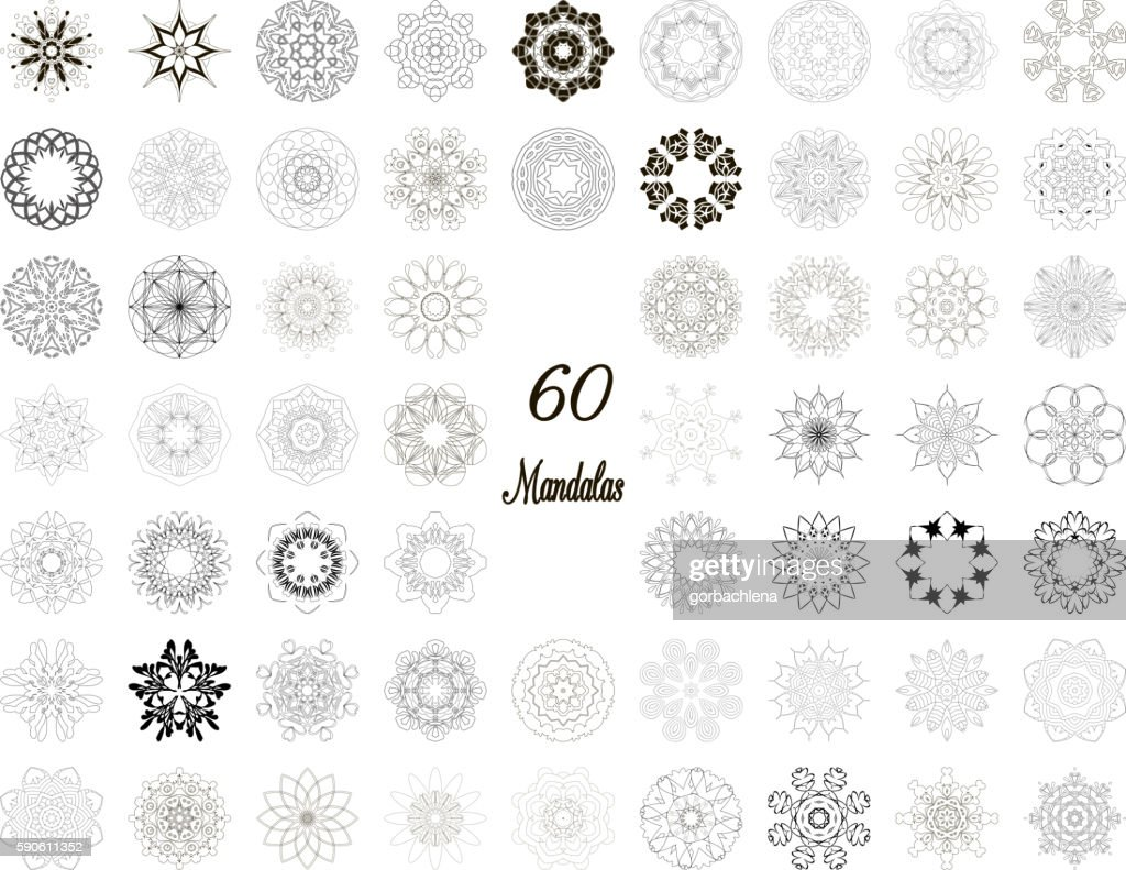 Set of abstract design element. Round mandalas in vector.