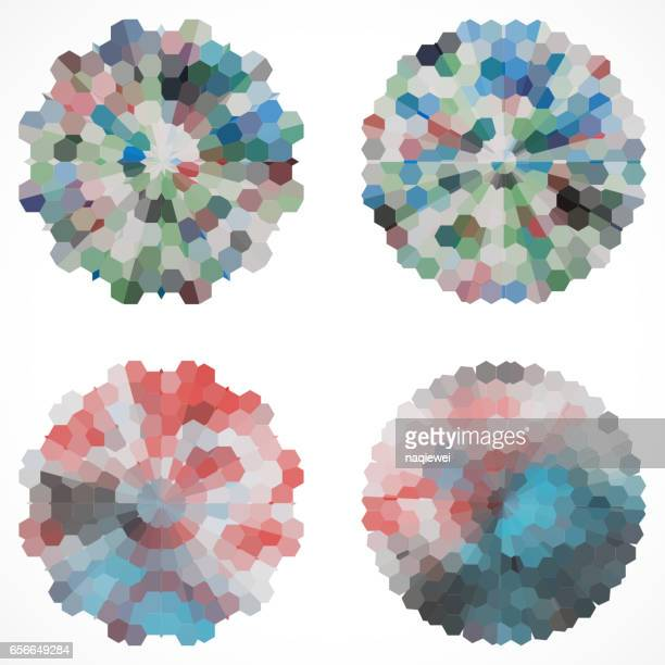 set of abstract floral circle pattern icon